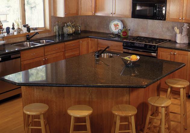 Coffee Brown Granite Countertop With Full Bullnose Edge Profile